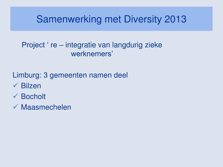 Samenwerking met Diversity 2013
