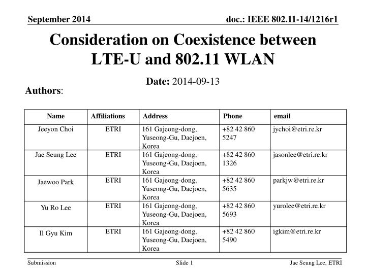 consideration on coexistence between lte u and 802 11 wlan n.