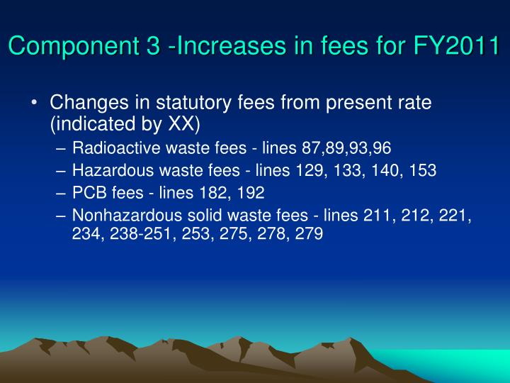 Component 3 -Increases in fees for FY2011