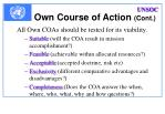 own course of action cont