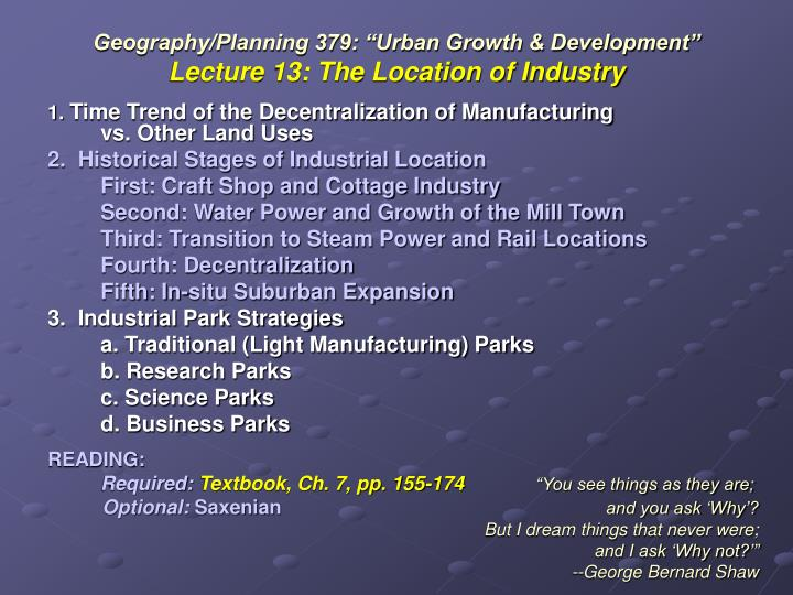 geography planning 379 urban growth development lecture 13 the location of industry n.