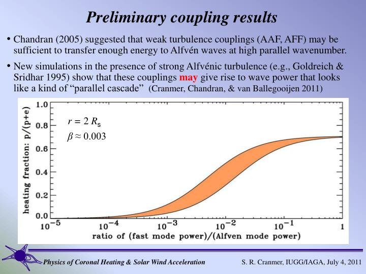 Preliminary coupling results