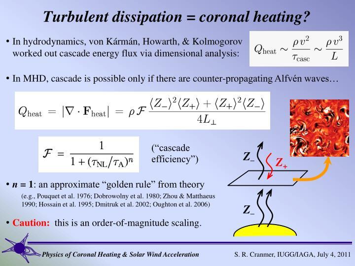 Turbulent dissipation = coronal heating?