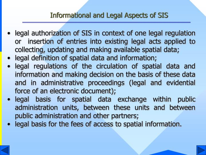 Informational and Legal Aspects of SIS