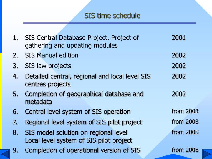 SIS time schedule