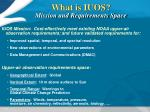 what is iuos mission and requirements space
