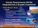 climate requirements will be integrated into a broader framework