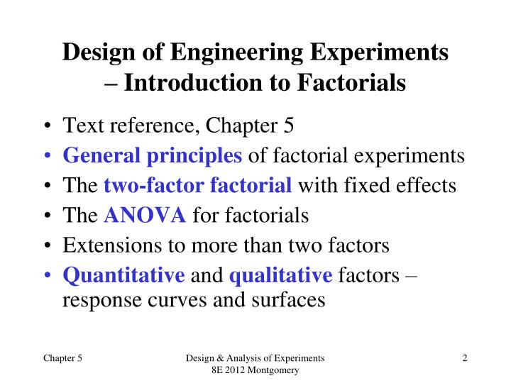 Design of engineering experiments introduction to factorials