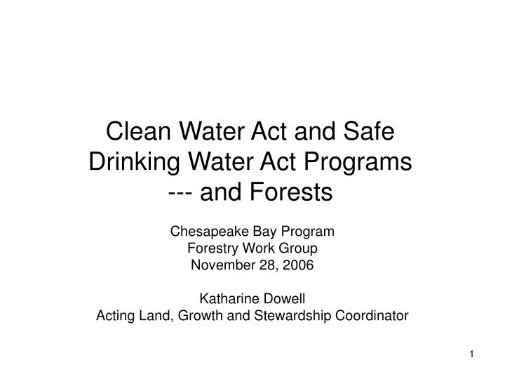 clean water act and safe drinking water act programs and forests n.