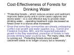 cost effectiveness of forests for drinking water