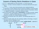 scenario of starting electric breakdown in gases