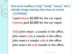one word modifiers only hardly almost etc radically change meaning when they are moved