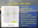o e ref v test lakes