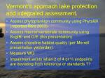 vermont s approach lake protection and integrated assessment