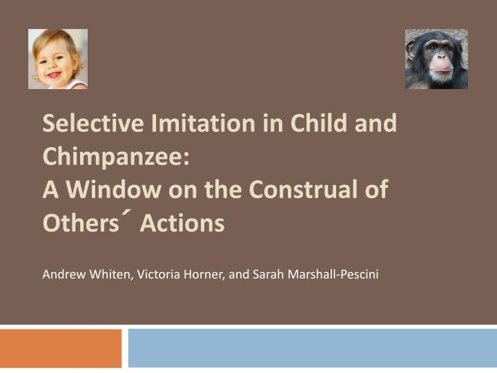 selective imitation in child and chimpanzee a window on the construal of others actions n.