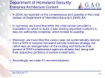 department of homeland security enterprise architecture content