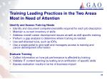 training leading practices in the two areas most in need of attention