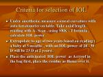 criteria for selection of iol