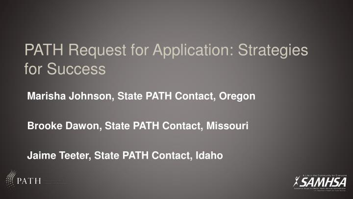 path request for application strategies for success n.