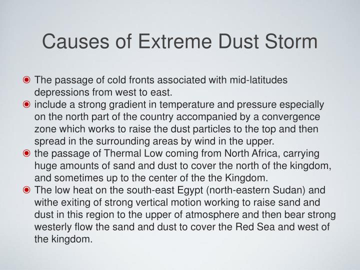 Causes of Extreme Dust Storm