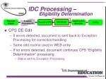 idc processing eligibility determination
