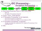 idc processing exception processing con t
