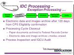 idc processing exception processing con t4