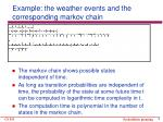 example the weather events and the corresponding markov chain