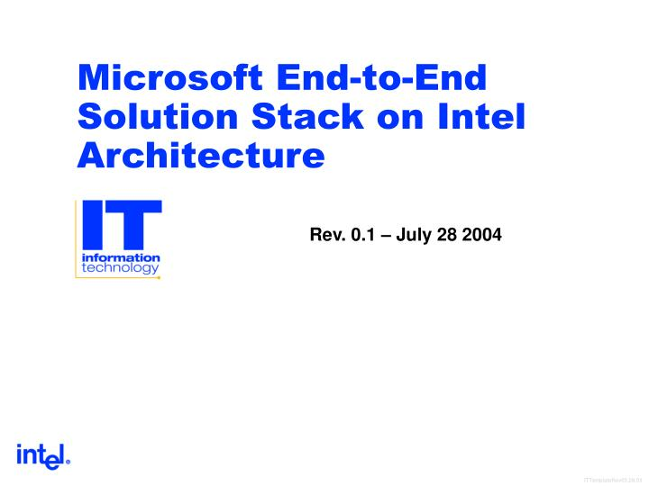microsoft end to end solution stack on intel architecture n.