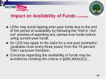 impact on availability of funds continued