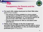 transparency for parents and the public