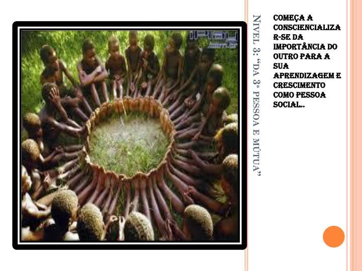 Começa a consciencializar-se da importância do outro para a sua aprendizagem e crescimento como pessoa social..