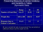 presenting measures of central tendency and variability in tables symmetric data