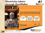 electricity tokens through onewallet