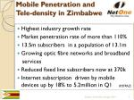 mobile penetration and tele density in zimbabwe