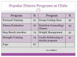 popular fitness programs at clubs