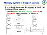 memory system to support caches