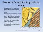metais de transi o propriedades f sicas