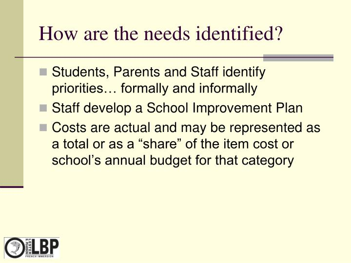 How are the needs identified?