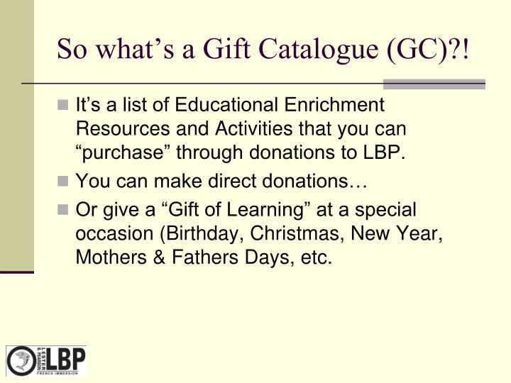 So what's a Gift Catalogue (GC)?!