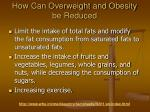 how can overweight and obesity be reduced