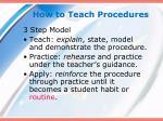 how to teach procedures