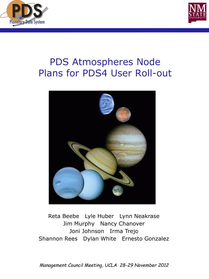 pds atmospheres node plans for pds4 user roll out n.