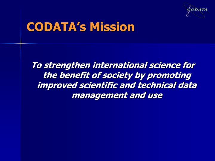 CODATA's Mission