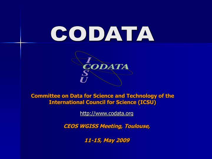 committee on data for science and technology of the international council for science icsu n.
