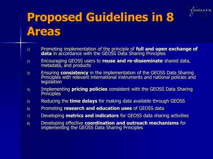 Proposed Guidelines in 8 Areas