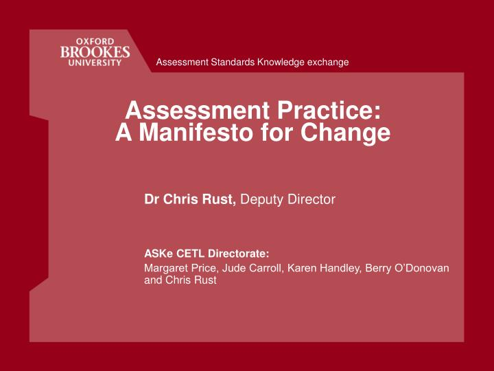 assessment practice a manifesto for change n.