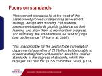 focus on standards