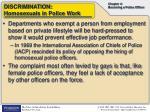 discrimination homosexuals in police work