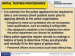 initial testing procedures
